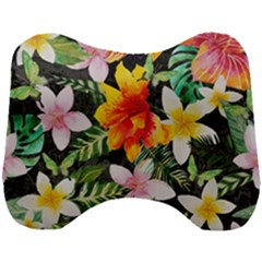 Tropical Flowers Butterflies 1 Head Support Cushion by EDDArt