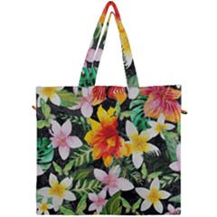 Tropical Flowers Butterflies 1 Canvas Travel Bag by EDDArt