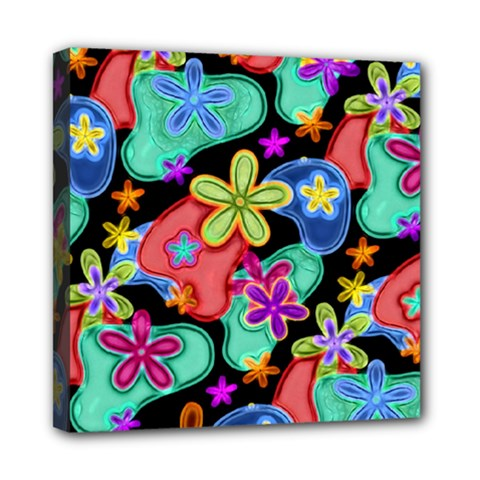 Colorful Retro Flowers Fractalius Pattern 1 Mini Canvas 8  X 8  by EDDArt