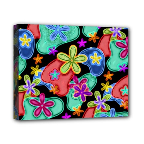 Colorful Retro Flowers Fractalius Pattern 1 Canvas 10  X 8  by EDDArt