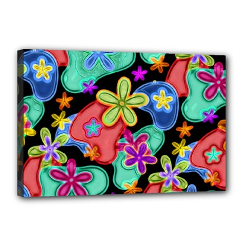 Colorful Retro Flowers Fractalius Pattern 1 Canvas 18  X 12  by EDDArt