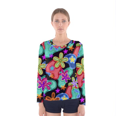 Colorful Retro Flowers Fractalius Pattern 1 Women s Long Sleeve Tee by EDDArt