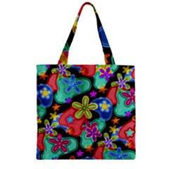 Colorful Retro Flowers Fractalius Pattern 1 Zipper Grocery Tote Bag by EDDArt