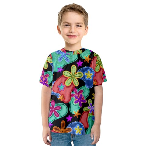 Colorful Retro Flowers Fractalius Pattern 1 Kids  Sport Mesh Tee by EDDArt