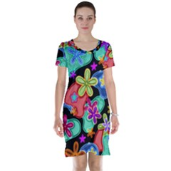 Colorful Retro Flowers Fractalius Pattern 1 Short Sleeve Nightdress by EDDArt