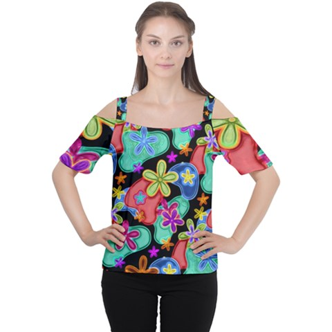 Colorful Retro Flowers Fractalius Pattern 1 Cutout Shoulder Tee by EDDArt