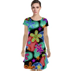 Colorful Retro Flowers Fractalius Pattern 1 Cap Sleeve Nightdress by EDDArt