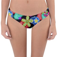 Colorful Retro Flowers Fractalius Pattern 1 Reversible Hipster Bikini Bottoms by EDDArt