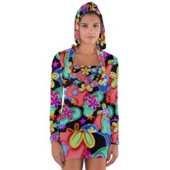 Colorful Retro Flowers Fractalius Pattern 1 Long Sleeve Hooded T-shirt by EDDArt