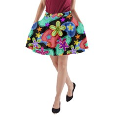 Colorful Retro Flowers Fractalius Pattern 1 A Line Pocket Skirt by EDDArt
