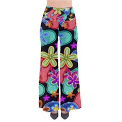 Colorful Retro Flowers Fractalius Pattern 1 So Vintage Palazzo Pants by EDDArt