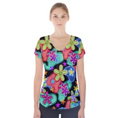 Colorful Retro Flowers Fractalius Pattern 1 Short Sleeve Front Detail Top by EDDArt