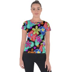 Colorful Retro Flowers Fractalius Pattern 1 Short Sleeve Sports Top  by EDDArt