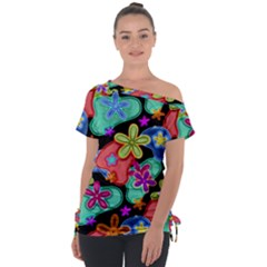 Colorful Retro Flowers Fractalius Pattern 1 Tie Up Tee by EDDArt