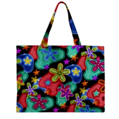 Colorful Retro Flowers Fractalius Pattern 1 Medium Tote Bag by EDDArt