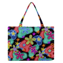 Colorful Retro Flowers Fractalius Pattern 1 Zipper Medium Tote Bag by EDDArt