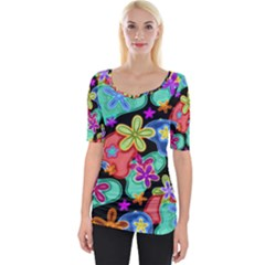Colorful Retro Flowers Fractalius Pattern 1 Wide Neckline Tee by EDDArt