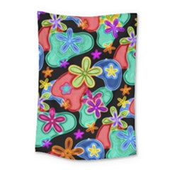 Colorful Retro Flowers Fractalius Pattern 1 Small Tapestry by EDDArt