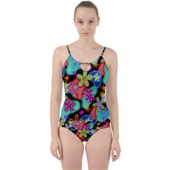 Colorful Retro Flowers Fractalius Pattern 1 Cut Out Top Tankini Set by EDDArt