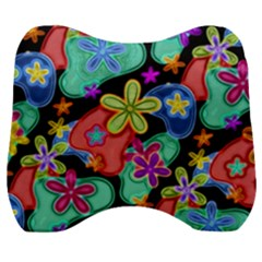 Colorful Retro Flowers Fractalius Pattern 1 Velour Head Support Cushion by EDDArt