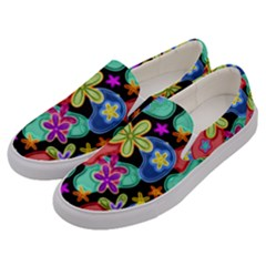 Colorful Retro Flowers Fractalius Pattern 1 Men s Canvas Slip Ons by EDDArt