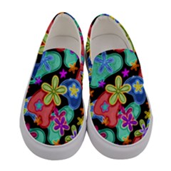 Colorful Retro Flowers Fractalius Pattern 1 Women s Canvas Slip Ons