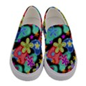 Colorful Retro Flowers Fractalius Pattern 1 Women s Canvas Slip Ons View1