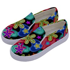 Colorful Retro Flowers Fractalius Pattern 1 Kids  Canvas Slip Ons by EDDArt