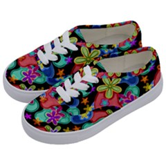 Colorful Retro Flowers Fractalius Pattern 1 Kids  Classic Low Top Sneakers by EDDArt