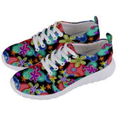 Colorful Retro Flowers Fractalius Pattern 1 Men s Lightweight Sports Shoes by EDDArt