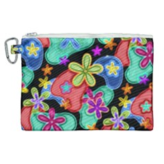 Colorful Retro Flowers Fractalius Pattern 1 Canvas Cosmetic Bag (xl) by EDDArt