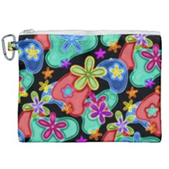 Colorful Retro Flowers Fractalius Pattern 1 Canvas Cosmetic Bag (xxl) by EDDArt