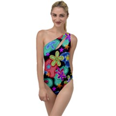 Colorful Retro Flowers Fractalius Pattern 1 To One Side Swimsuit by EDDArt