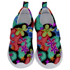 Colorful Retro Flowers Fractalius Pattern 1 Velcro Strap Shoes by EDDArt