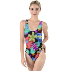 Colorful Retro Flowers Fractalius Pattern 1 High Leg Strappy Swimsuit by EDDArt