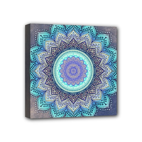 Folk Art Lotus Mandala Blue Turquoise Mini Canvas 4  X 4  by EDDArt
