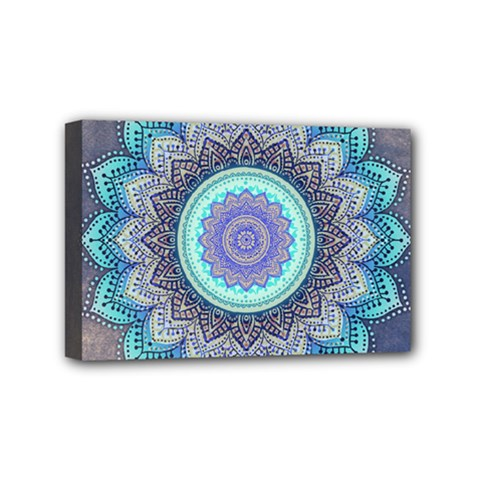 Folk Art Lotus Mandala Blue Turquoise Mini Canvas 6  X 4  by EDDArt