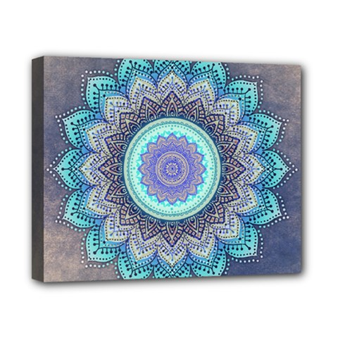 Folk Art Lotus Mandala Blue Turquoise Canvas 10  X 8  by EDDArt