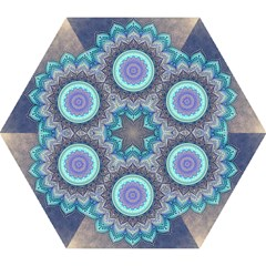 Folk Art Lotus Mandala Blue Turquoise Mini Folding Umbrellas by EDDArt