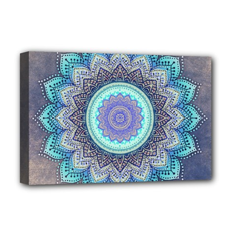 Folk Art Lotus Mandala Blue Turquoise Deluxe Canvas 18  X 12   by EDDArt