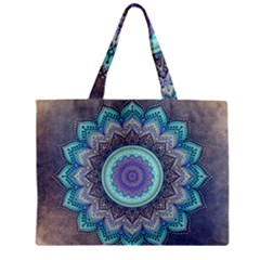 Folk Art Lotus Mandala Blue Turquoise Mini Tote Bag