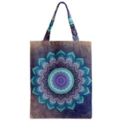 Folk Art Lotus Mandala Blue Turquoise Classic Tote Bag by EDDArt