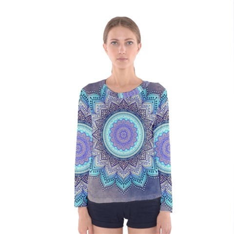 Folk Art Lotus Mandala Blue Turquoise Women s Long Sleeve Tee by EDDArt