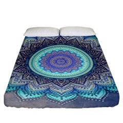 Folk Art Lotus Mandala Blue Turquoise Fitted Sheet (king Size) by EDDArt