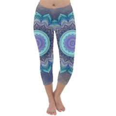 Folk Art Lotus Mandala Blue Turquoise Capri Winter Leggings  by EDDArt