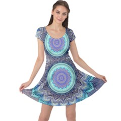 Folk Art Lotus Mandala Blue Turquoise Cap Sleeve Dress by EDDArt