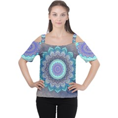 Folk Art Lotus Mandala Blue Turquoise Cutout Shoulder Tee by EDDArt