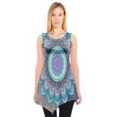 Folk Art Lotus Mandala Blue Turquoise Sleeveless Tunic by EDDArt
