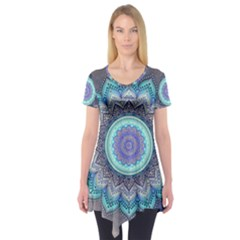 Folk Art Lotus Mandala Blue Turquoise Short Sleeve Tunic  by EDDArt