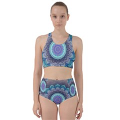 Folk Art Lotus Mandala Blue Turquoise Racer Back Bikini Set by EDDArt